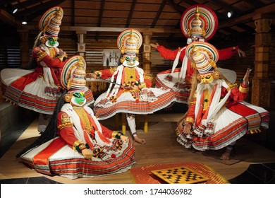 Kathakali performers during the traditional kathakali dance of Kerala's state in India. Major form of classical Indian dance related to Hindu performance region of Kerala. Kochi India May 2020