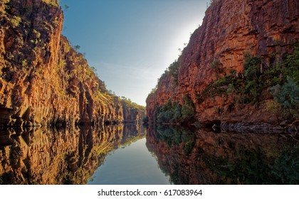 Katherine Gorge on an early morning boat trip up the river with wonderful reflections and beautiful scenery,  Northern Territory,  Central Australia.