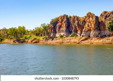 Katherine River, gorge, riverbank and red sand beach in Nitmiluk National park, Northern Territory, Australia.