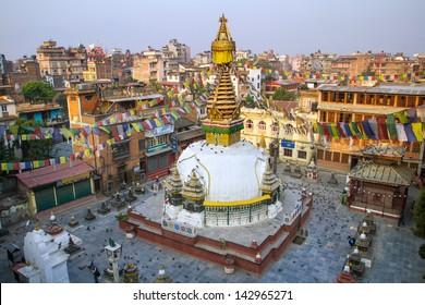 Kathesimbu Stupa with Buddha wisdom eyes and prayer colorful flags in Kathmandu, Nepal