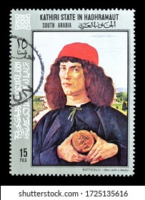 Kathiri State - circa 1972 : Cancelled postage stamp printed by Kathiri State in Hadhramaut, that shows painting by Botticelli, circa 1972.