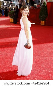 Kathleen Robertson at the 60th Primetime Emmy Awards held at the Nokia Theater in Los Angeles, USA on September 21, 2008.