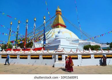 KATHMANDU, NEPAL–FEBRUARY 23, 2017: Famous Swayambhunath Stupa in Kathmandu, also known as Monkey Temple, is secret place for Buddhist around the world.