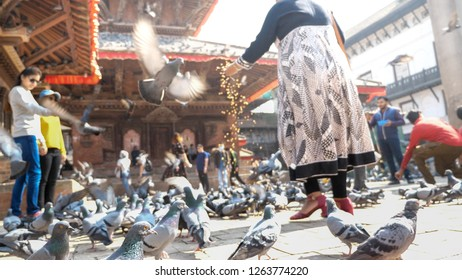 Kathmandu city / Nepal - 9 November 2018: Group of different people on the Durbar Square, the most popular tourist destination in Kathmandu