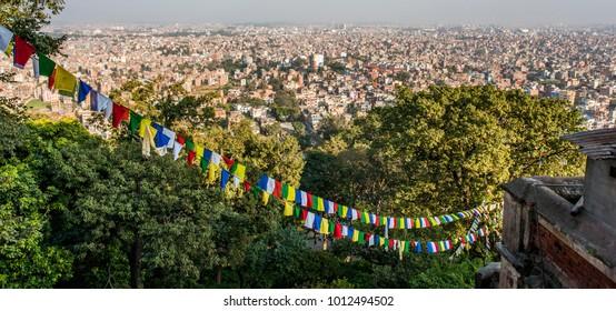 Kathmandu city skyline as seen from the Swayambhunath Stupa (aka Monkey Temple)