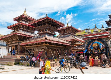 Kathmandu Durbar Square, Nepal - July 17, 2018 : Street view at Kathmandu Durbar Square, UNESCO World Heritage Site, surrounded with spectacular architecture, temples, idols and open courts