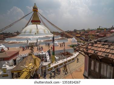 Kathmandu / Nepal   05 27 2018      Boudhanath stupa Kathmandu