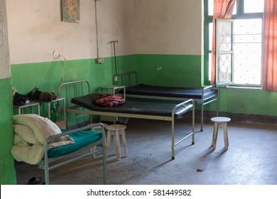KATHMANDU, NEPAL - 11 December 2016: Hospital ward in Taplejung municipal hospital, 11 December 2016 in Taplejung, Nepal