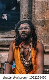 Kathmandu, Nepal, 13 February 2018 a young sadhu (the holy man) during the Hindu festival 'Maha Shivaratri'. Maha shivaratri is a festival dedicated to Lord Shiva.