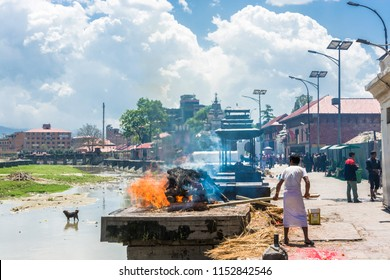 Kathmandu, Nepal – 13.04.2018 Cremation of bodies on the banks of the Bagmati river in the Pashupatinath Temple 13 April 2018, Kathmandu, Nepal.