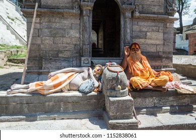 Kathmandu, Nepal – 13.04.2018: Two sadhus in the temple complex Pesonalised 13 April 2018, Kathmandu, Nepal.