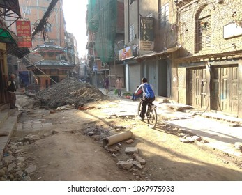 KATHMANDU, NEPAL 13TH APRIL 2018 : Local People doing their daily activity near Thamel Road, one of the famous and busy place for tourist. Kathmandu just recover was effected by earthquake on 2015.