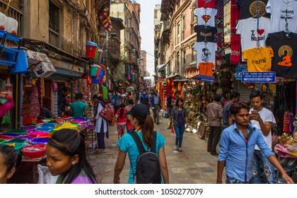 KATHMANDU NEPAL 15.03.2018 - Crowdy shopping street in Thamel district of Kathmandu, Nepal