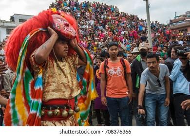 "KATHMANDU, NEPAL - 9/26/2015: The Majipa Lakhey, translated as ""Manjusri city demon"", performs a ceremonial dance during the Indra Jatra festival at Durbar Square in Kathmandu, Nepal."