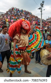 "KATHMANDU, NEPAL - 9/26/2015: The Majipa Lakhey, translated to ""Manjusri city demon"", begins a ceremonial dance in Durbar Square during the Indra Jatra festival in Kathmandu, Nepal."