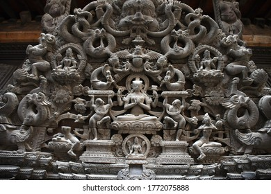 KATHMANDU, NEPAL - APRIL 16,2019: The art of Nepalese ancient architecture culture design in the religious area of city , Kathmandu