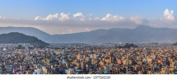 Kathmandu / Nepal - April 18 2019: A cityscape panorama of Kathmandu at sunset.