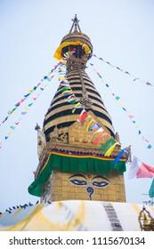 Kathmandu, Nepal - April 20, 2018 :Swayambhunath - monkey temple in Nepal, landmark