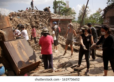 Kathmandu, Nepal - April 25. 2015: Volunteers clearing the rubbles after the earthquake damage in Nepal.