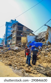KATHMANDU, NEPAL - APRIL 26, 2015: Debris of buildings at the Durbar square in Kathmandu after, after a 7.8 earthquake, Nepal