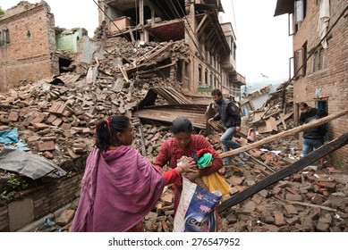 KATHMANDU, NEPAL - APRIL 29, 2015: Sankhu village which was severly damaged after the major earthquake on 25 April 2015.