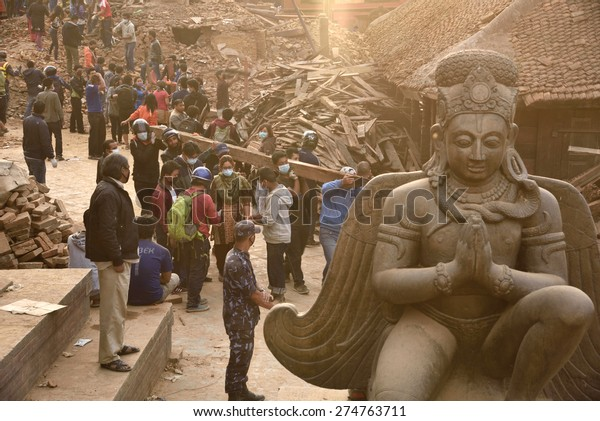 KATHMANDU, NEPAL - APRIL 29, 2015: Durbar Square which was severly damaged after the major earthquake on 25 April 2015.