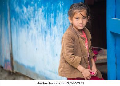 Kathmandu, Nepal : April-08-2019 : Portrait of cute Nepalis girl live in Kathmandu and smiling when she saw the camera.