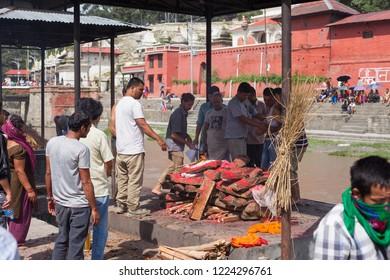 KATHMANDU, NEPAL - AUG 15: Worshipers gather at Pashupatinath Temple in Kathmandu on 15 Aug 2018.
