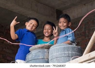 Kathmandu, Nepal - August 11, 2017 : A group of Nepali children are smiling in Kathmandu city