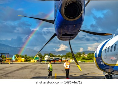 Kathmandu, Nepal - August 11 2019: Blades of a turboprop engine with rainbow in the background.