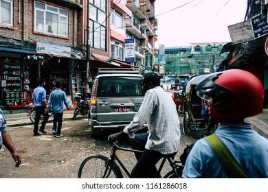 Kathmandu Nepal August 21, 2018 View of unknown people walking in Thamel street in Kathmandu in the morning