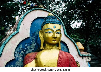 Kathmandu Nepal August 23, 2018 View of the Buddha face at the Monkey temple in Swayambhunath area in Kathmandu in the evening