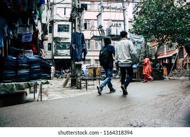 Kathmandu Nepal August 24, 2018 View of unknowns people walking in Durbar street at Naghal district in Kathmandu in the morning