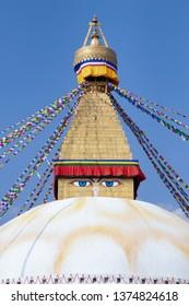 Kathmandu Nepal Boudhanath Stupa is one of the largest Buddhist stupas in the world. It is the center of Tibetan culture in Kathmandu.