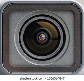 KATHMANDU, NEPAL - CIRCA APRIL 2019: Macro shot of the GoPro Hero7 Black lens.