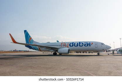 KATHMANDU, NEPAL - CIRCA JANUARY 2018: A Flydubai Boeing 737-800 at Tribhuvan International Airport. Flydubai is a government-owned low-cost airline.