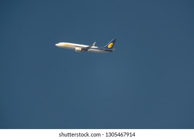 KATHMANDU, NEPAL - CIRCA JANUARY 2019: Jet Airways Boeing 737-85R flies above Kathmandu after taking off from Tribhuvan International Airport.