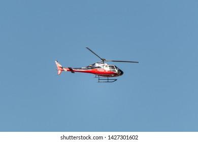 KATHMANDU, NEPAL - CIRCA MARCH 2019: Simrik Air Airbus Helicopters H125 in flight