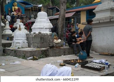 Kathmandu, Nepal, circa may 2017: People on Swayambhunath Stupa in Kathmandu, Nepal