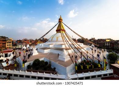 KATHMANDU, NEPAL - DEC 10, 2018: View of Bodhnath stupa, one from the best buddhist stupas on the world, the biggest stupa in Kathmandu city, Nepal buddhism