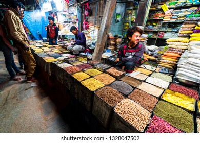 KATHMANDU, NEPAL - DEC 11, 2018: People trading at Asan market in the city centre of the capital of Nepal.
