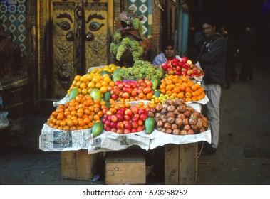 KATHMANDU, NEPAL - DEC 20, 2007 - Fruit seller's cart in old city of Kathmandu, Nepal