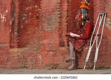 KATHMANDU, NEPAL - December 01, 2017 : Shaiva sadhu in Pashupatinath Temple