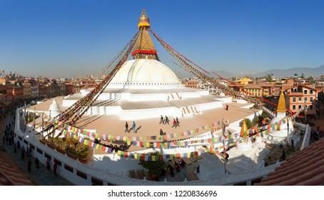 KATHMANDU, NEPAL - DECEMBER 12 2014 - View of Bodhnath stupa, one from the best buddhist stupas on the world, the biggest stupa in Kathmandu city, Nepal