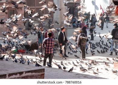 KATHMANDU, NEPAL - December 15, 2017 : Unidentified tourist are playing with flying pigeons in the Kathmandu dubar square