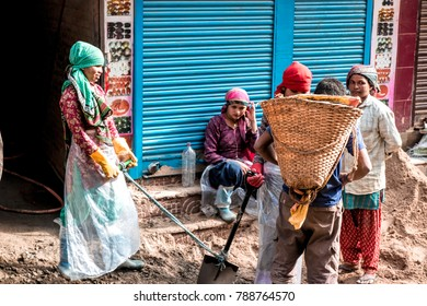 KATHMANDU, NEPAL - December 15, 2017 : Unknown Nepali people are working in the construction for building house.