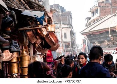 KATHMANDU, NEPAL - DECEMBER 16,2017: Crowded people in the local market.