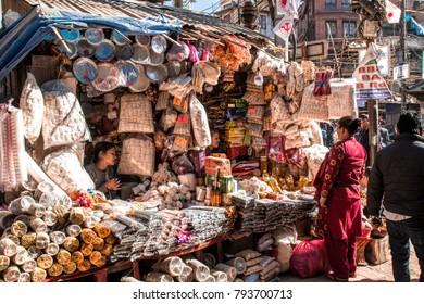 KATHMANDU, NEPAL - DECEMBER 16,2017: Nepali people in the local market.