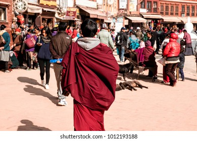 Kathmandu, Nepal - December 17, 2017 : People in Nepal are doing different activities