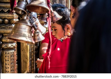 KATHMANDU, NEPAL - December 25, 2017 : Nepal people go to pay worship in the temple in Kathmandu Dubar square